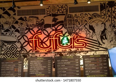 Riverside, California/United States - 07/06/19: A store front sign for the restaurant known as Fufu's Grill, located in side the Riverside Food Lab
