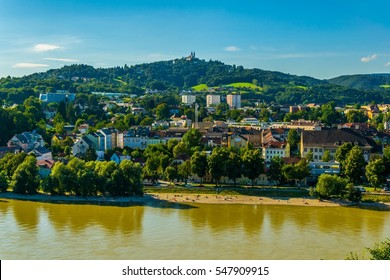 Riverside of Danube with the Poestlingberg Basilica, Linz, Austria