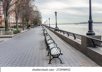 Riverside Footpath in New York City on a Cloudy Winter Day
