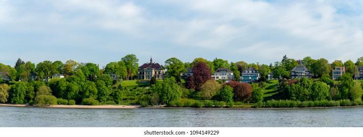 Riverside landscape in Hamburg, Germany