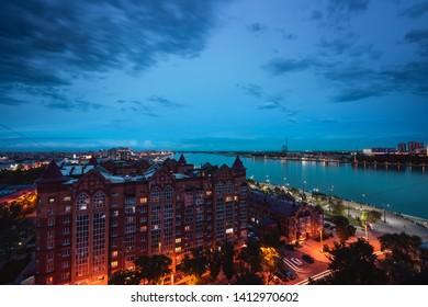 Riverside late in the evening. Blagoveshchensk, Amur region, Russia