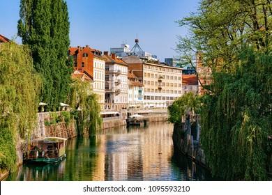 Riverside of Ljubljanica River in the historical center of Ljubljana, Slovenia