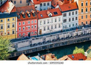 Riverside of Ljubljanica River at the historical center of Ljubljana, Slovenia