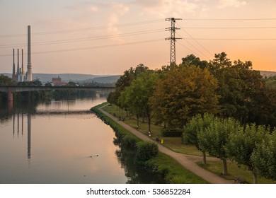 Riverside at Obernburg am Main (Germany) at sunset