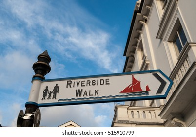 Riverside Park street sign in Putney area of Greater London, UK on  a background of morning blue sky and pristine white victorian houses