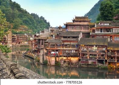 riverside at the Phoenix Hong Bridge in Fenghuang