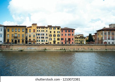 Riverside of Pisa city in Italy with tradiotional houses