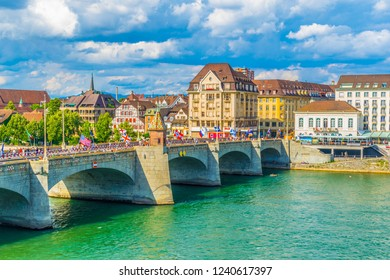 Riverside of Rhine in Basel with mittlere brucke, Switzerland