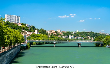 The riverside of the Rhone in Lyon. Auvergne-Rhone-Alpes, France
