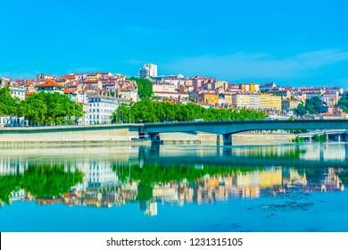 Riverside of Rhone river in Lyon, France