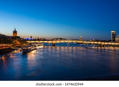 Riverside of the river Rhine in Cologne (Germany) at night
