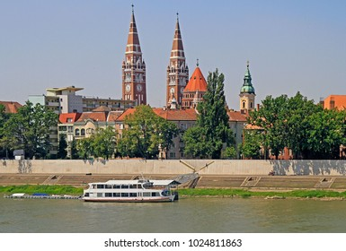 riverside of river Tisza in city Szeged, Hungary