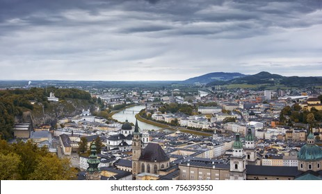 Riverside of the Salzach river in Salzburg
