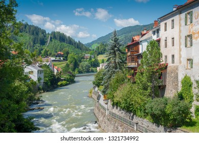 Riverside scenery in Murau. Murau is a historic town in Upper Styria in the valley of the Mur in Austria.