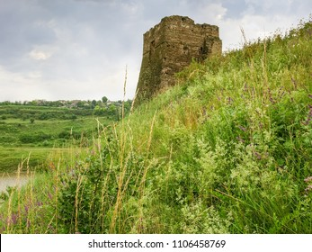 Riverside stone tower of medieval castle built in the 15th century in village Zhvanets, Khmelnytskyi oblast, Ukraine