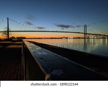 Riverside Sunset in winter days