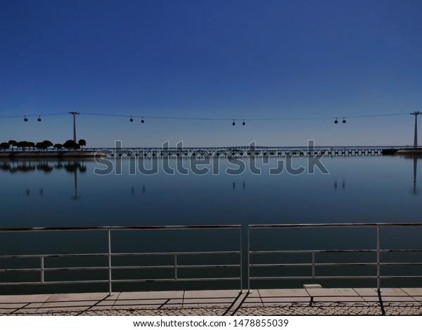 Riverside view of Tejo river, Nations Park, Lisbon, Portugal.