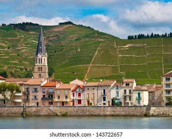 A riverside Village and Vineyards on the Hills of the Cote du Rhone Area in France