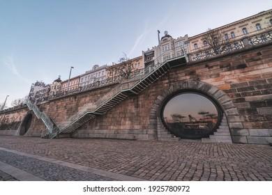 Náplavka - riverside of Vltava, Prague, Czechia. Popular spot to meet. - Shutterstock ID 1925780972