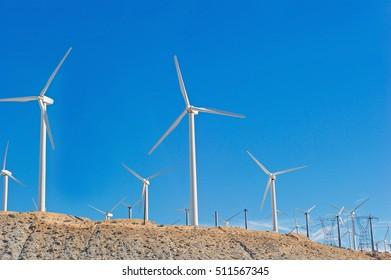 RIVERSIDE/CALIFORNIA - NOV. 6, 2016: San Gorgonio Pass Wind Farm. Image of wind turbines ranging from 80 to 160 feet in height. Located in Riverside, California USA