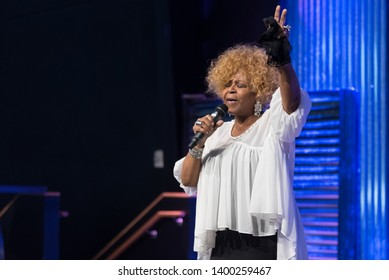 Riverview, Florida / USA - May 12, 2019: Gospel Singer Vanessa Bell Armstrong Singing in a Church in Riverview, FL.