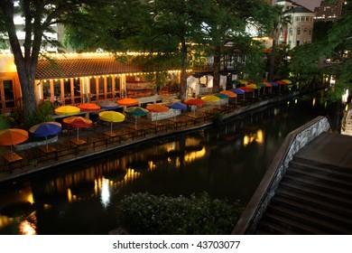 The riverwalk at night in San Antonio Texas.