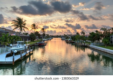 Riverway that leads to the ocean on Marco Island, Florida at Sunrise.