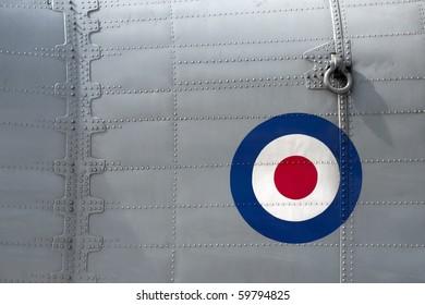 riveted fuselage panel on vintage british military aircraft