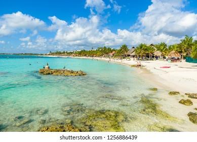 Riviera Maya at Cancun - paradise beach Akumal at Cancun, Yucatan, Mexico - Caribbean coast - tropical destination for vacation