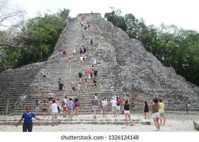 Riviera Maya, Mexico, April, 22, 2014: Pyramid and ruins of Coba