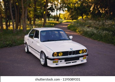Rivne, Ukraine - July 07, 2018: Original BMW M3 e30 outdors, sport wheels, tunning, glossy and shiny old classic retro oldtimer.
