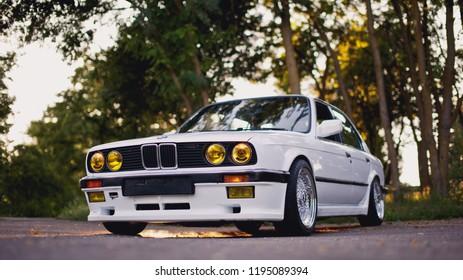 Rivne, Ukraine - July 07, 2018: Original BMW M3 e30 outdors, sport wheels, tunning, glossy and shiny old classic retro oldtimer.