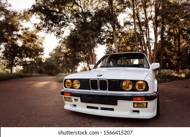 Rivne, Ukraine - November 21, 2019: Original BMW M3 e30 outdors, sport wheels, tunning, glossy and shiny old classic retro oldtimer.