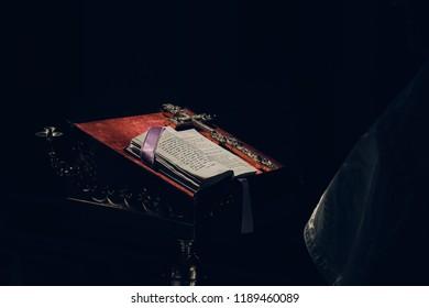 Rivne, Ukraine September 15, 2017: Bible on a black background
