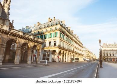 Rivoli rue street in Paris near Louvre palace