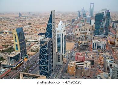 RIYADH - August 22: Aerial view of Riyadh downtown on August 22, 2016 in Riyadh, Saudi Arabia.