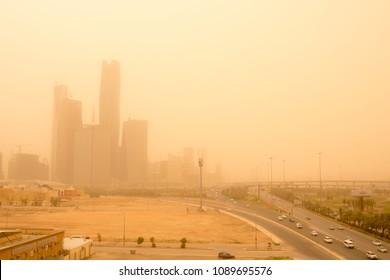 Riyadh city in dusty day. Saudi Arabia