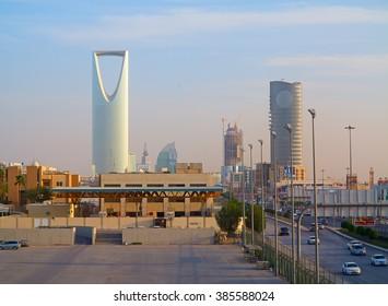 RIYADH - FEBRUARY 29: Kingdom tower on February 29, 2016 in Riyadh, Saudi Arabia. Kingdom tower is a business and convention center, shoping mall and one of the main landmarks of Riyadh city