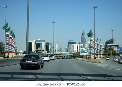 Riyadh, Kingdom of Saudi Arabia - March 7, 2018: Cars approach the capital's Cairo Square Highway Intersections of King Fahad, Khurais and Makkah Roads
