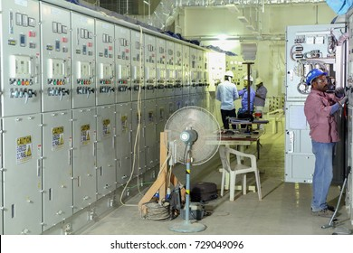 Riyadh, KSA - Oct 5, 2017: Pre-commissioning and testing of new electrical switchgear installation