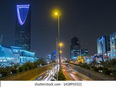 Riyadh, Saudi Arabia. 04/09/2017. View of Kingdom Tower at night.