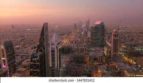 Riyadh / Saudi Arabia - April 08 2019: View from Faisaliyah Tower and Sunset