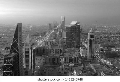 Riyadh / Saudi Arabia - April 08 2019: View from Faisaliyah Tower, black and white