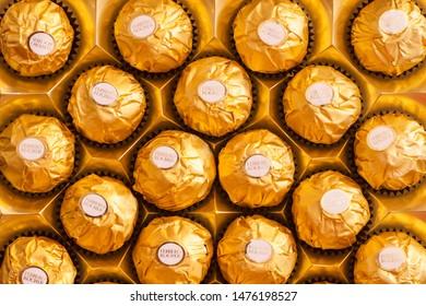 Riyadh, Saudi Arabia - August 1, 2019: Close up to Ferrero Rocher premium chocolate sweets produced by the Italian chocolatier Ferrero