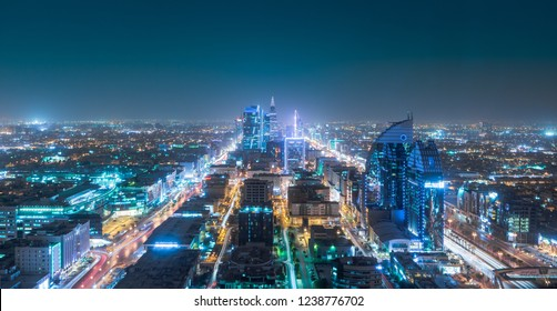 Riyadh Saudi Arabia Big City Lights in the evening