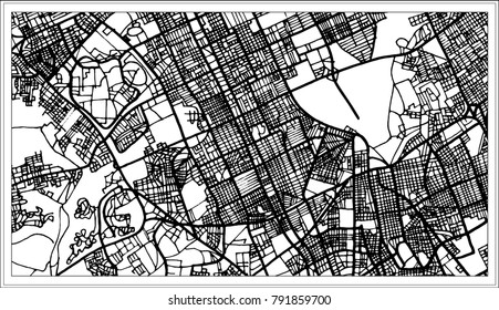 Riyadh Saudi Arabia City Map in Black and White Color. Outline Map.
