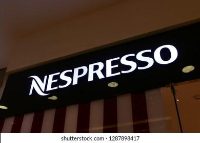 RIYADH, SAUDI ARABIA – DECEMBER 16, 2018: The logo of the brand Nespresso