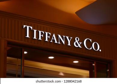 RIYADH, SAUDI ARABIA – DECEMBER 16, 2018: The logo of the brand Tiffany and Co