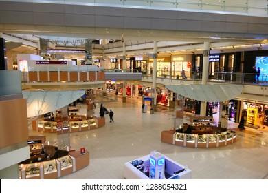 RIYADH, SAUDI ARABIA – DECEMBER 16, 2018: The shopping mall within the Kingdom Center