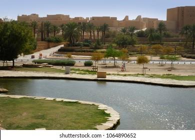 Riyadh, Saudi Arabia - February 19, 2018: Ad diriyah district seen from Al Bujairi Square in the capital of KSA